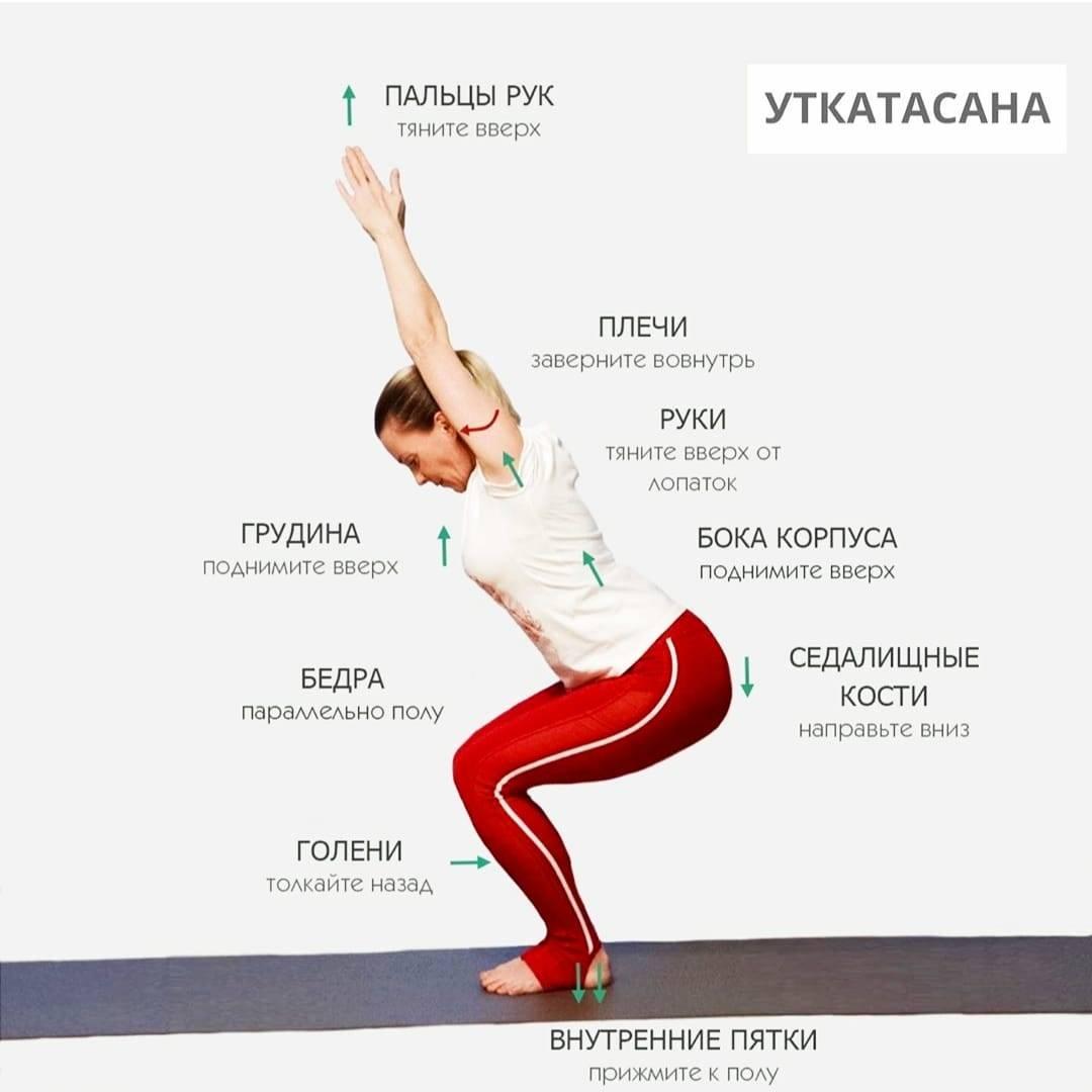 Эффективная поза Уткатасана: укрепите ноги и спину, стимулируйте работу ЖКТ